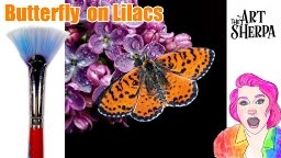 Realistic Butterfly on Lilacs with Waterdrops acrylic Tutorial