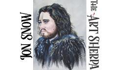 How to paint Acrylic portrait of Jon Snow LIVE part 2