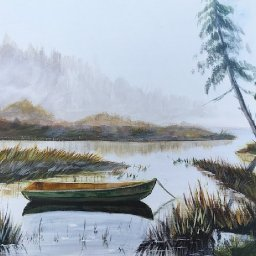 How to paint Acrylic landscape Misty LAKE live (take2)