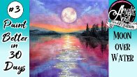Easy Moonlight Lake Daily Painting Step by step Day 2 #AcrylicApril2021 | TheArtSherpa