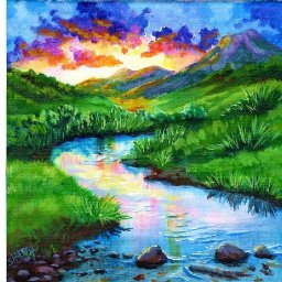 MOUNTAIN MEADOW STREAM Beginners Learn to paint Acrylic Step by Step Day 12 #AcrylicApril2021