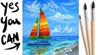 CATAMARAN BEACH  Beginners Learn to paint Acrylic Tutorial Step by Step Day 16 #AcrylicApril2021