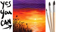 EASY SUNSET OCEAN Beginners Learn to paint Acrylic Tutorial Step by Step Day  18 #AcrylicApril2021