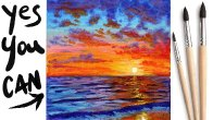 SUNSET OCEAN Beginners Learn to paint Acrylic Tutorial Step by Step Day 21 #AcrylicApril2021