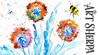 EASY DANDELION FLOWER AND BEE  How to Paint Watercolor Step by step | The Art Sherpa