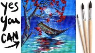 HAMMOCK SEASCAPE MOONLIGHT Beginners Learn to paint Acrylic Tutorial  Day 22 #AcrylicApril2021