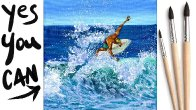 SURFER IN A WAVE Beginners Learn to paint Acrylic Tutorial Step by Step Day 26 #AcrylicApril2021