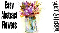 Easy Abstract Floral in Mason Jar How to Paint Watercolor Step by step | The Art Sherpa
