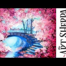 Cherry Tree Bridge How to paint with Acrylic on Canvas Artist knife