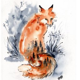Easy DREAM FOX  line and wash  How to Paint Watercolor Step by step   The Art Sherpa
