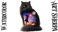 How to Paint | Double Exposure Cat Witch Jack O'Lantern | Watercolor Step by step | The Art Sherpa