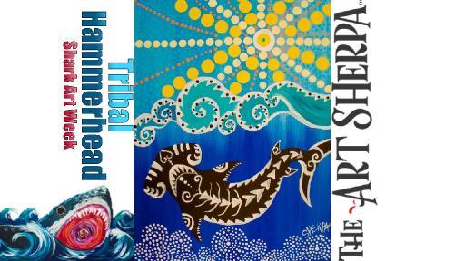 Dot Painting On Canvas Of A Tribal Hammerhead Shark