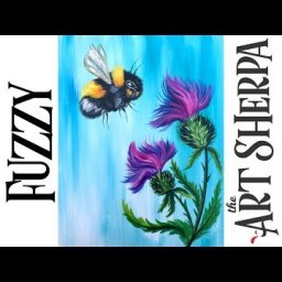 How to paint A fuzzy Bumble bee and Thistles with Acrylic #playlive #derpsquad