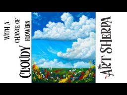 Fluffy Clouds and Wild flowers landscape How to paint  Acrylic