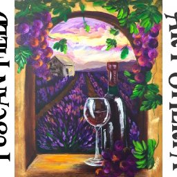 How to paint with Acrylic on Canvas Tuscan Lavender field and Wine