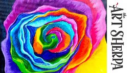 How to paint with Acrylic on Canvas a Rainbow Rose
