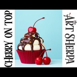 How to paint with Acrylic on Canvas a Cupcake with Cherries