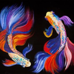 How to paint  Beta Fish in acrylic Craft Klatch Collab and Giveaway
