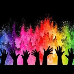 Cotton swab Acrylic on  Holi Festival of Color Free art lesson