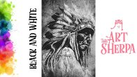 How to paint with Acrylic on Canvas native american Black and White