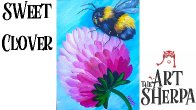 Very easy simple painting lesson for beginners Bumble Bee Clover the Art Sherpa