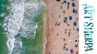 Drone view How to paint with Acrylic on Canvas Beach with umbrellas