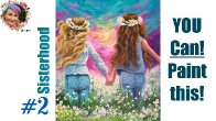 #2 Sisters in Daisys step by step Painting in acrylic  Live Streaming