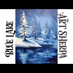 Simple Winter Landscape Frozen Lake with Pines Acrylic Painting tutorial