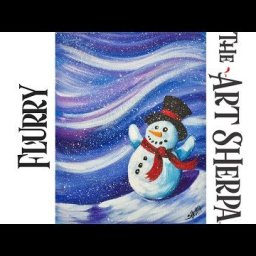 Beginners How to paint with Acrylic on Canvas The Flurry Snowman
