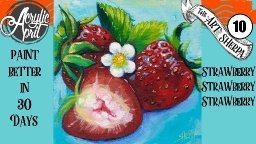 Realistic Strawberries 🍓 Easy Daily Painting Step by step Acrylic Tutorials Day 10 #AcrylicApril2020