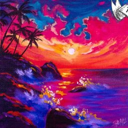 Tropical Sunset 🌅 Easy Daily Painting  Step by step Acrylic Tutorials Day 11  #AcrylicApril2020