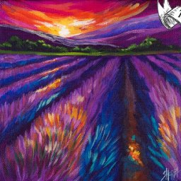 Lavender Field Sunset  Easy Daily Painting  Step by step Acrylic Tutorials Day 12  #AcrylicApril2020
