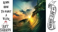 Crashing Wave Painting  Step by step Acrylic Tutorials  Live stream the Art sherpa
