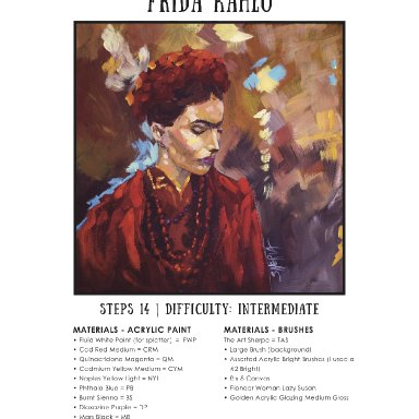 Frida Kahlo How to paint step by step mini book