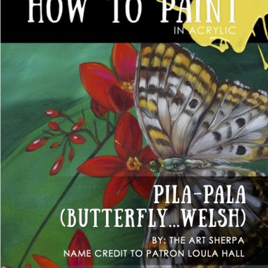 Butterfly and REd flower step by step