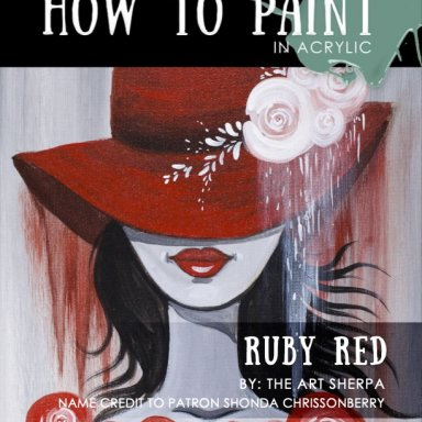 Ruby Red Lady in Hat with roses Minibook