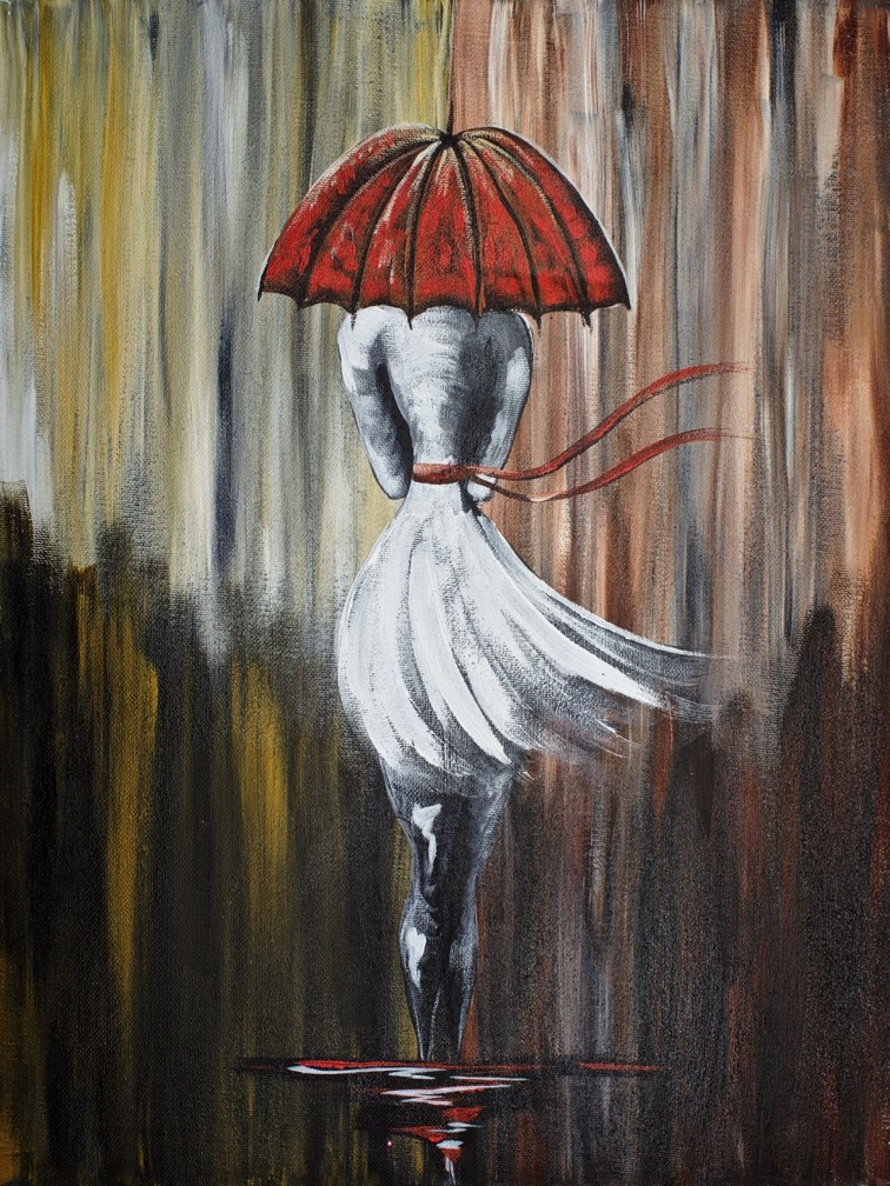 Walking In The Rain Girl With Red Umbrella Abstract The ...