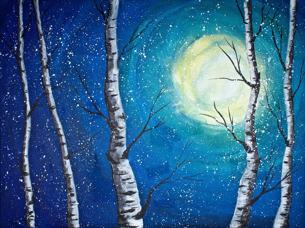 Beginner Acrylic Painting Class Birch Trees The Art Sherpa