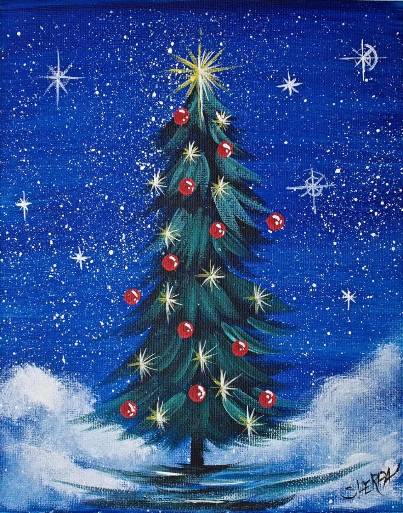 Lets Paint this Acrylic Painting of a Simple Christmas Tree in the snow. We  will cover a Scrumbled snow, how to paint a pine, and easy twinkle lights.