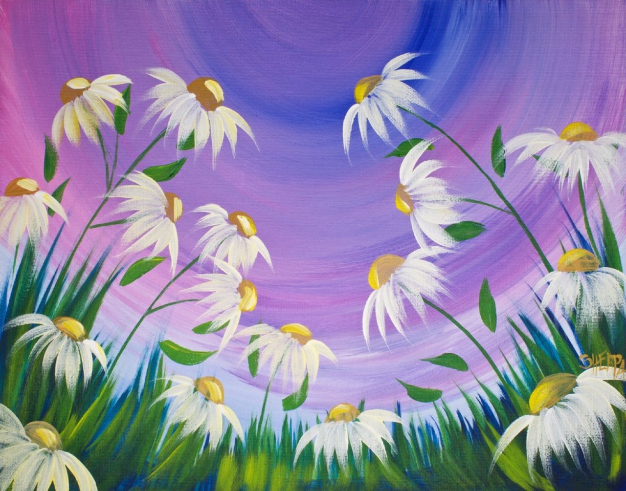 Spring Flowers Acrylic Painting on Canvas for Beginners