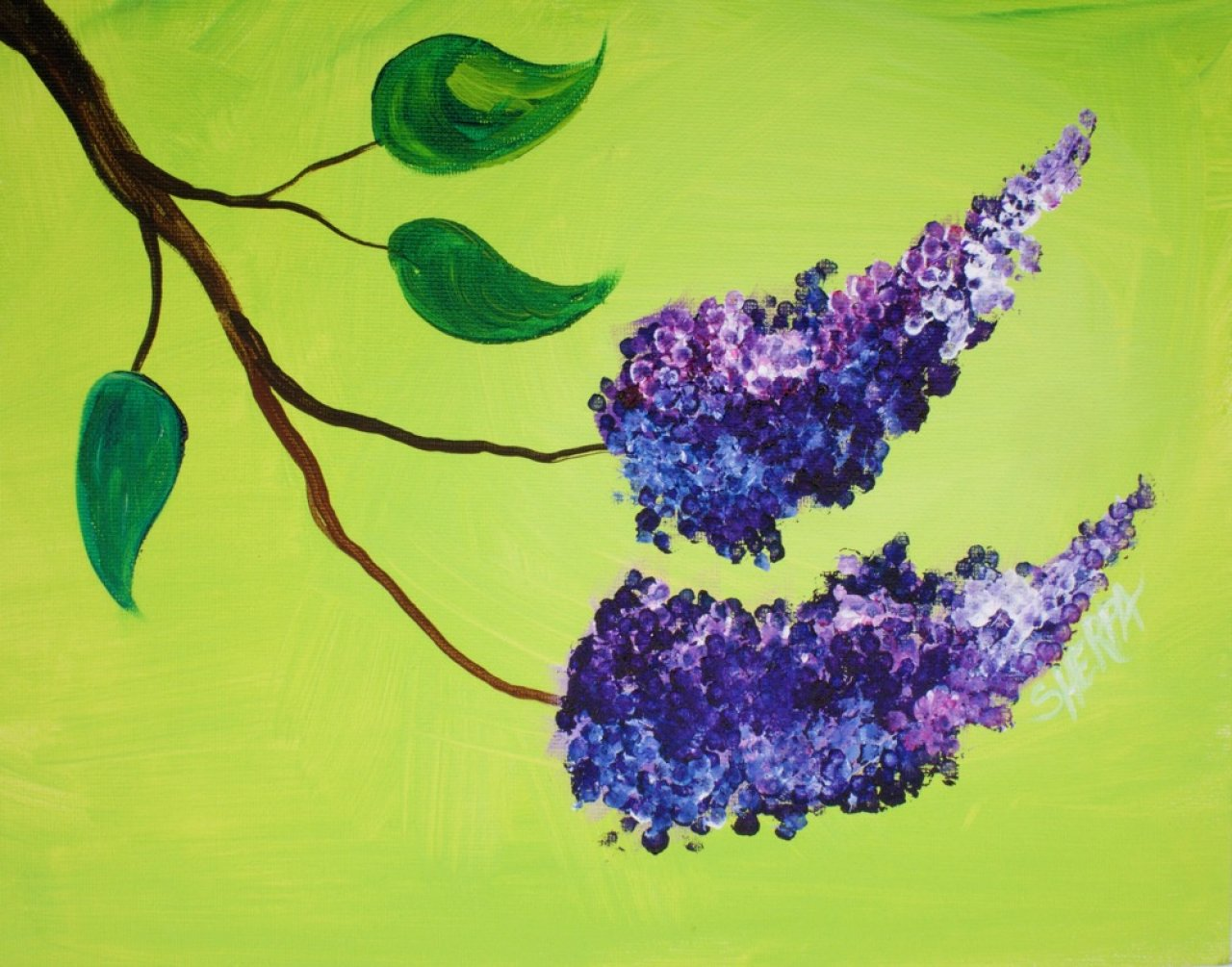 Learn To Create Simple Floral Lilacs With Q Tips In Acrylic Paint On Canvas Step By Tutorial Anyone Can Do This Really Easily The Art Sherpa