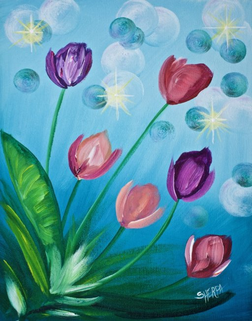 Tulips BEGINNER EASY Acrylic Painting Tutorial