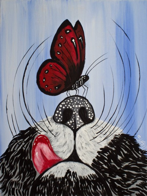Butterfly In Cats Nose Easy Paintings For Beginners