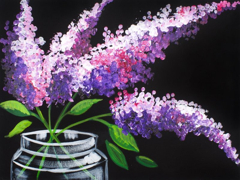 Easy Acrylic Painting Lilacs In A Mason Jar With Cotton