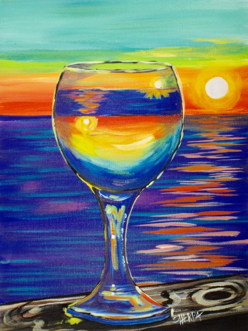 Purple Paint Colors >> Sunset reflected in a glass easy beginner painting tutorial   The Art Sherpa