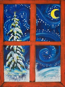 Christmas Window with snow Acrylic painting on Canvas