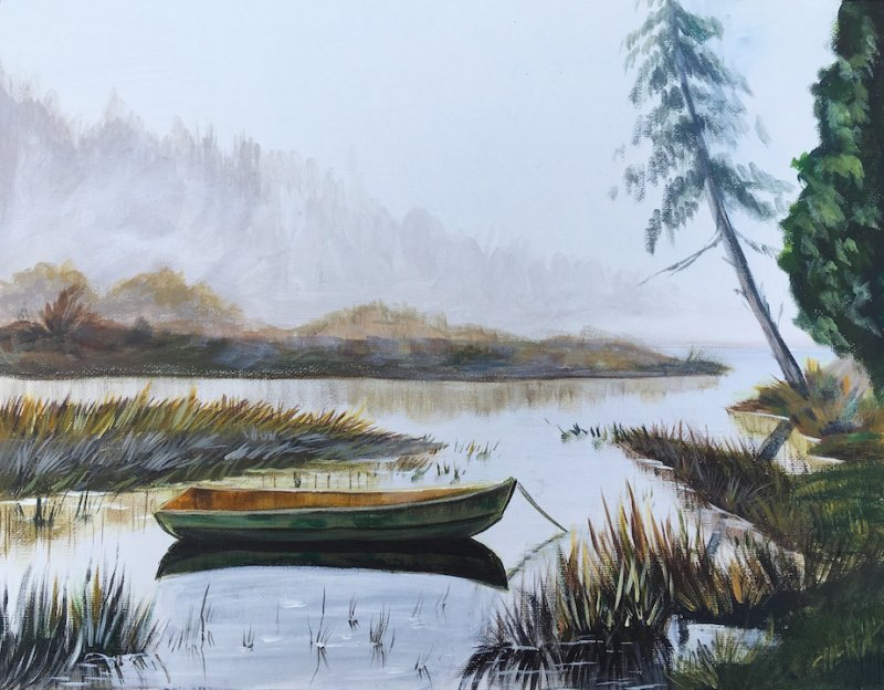 How To Paint Acrylic Landscape Misty Lake Live The Art