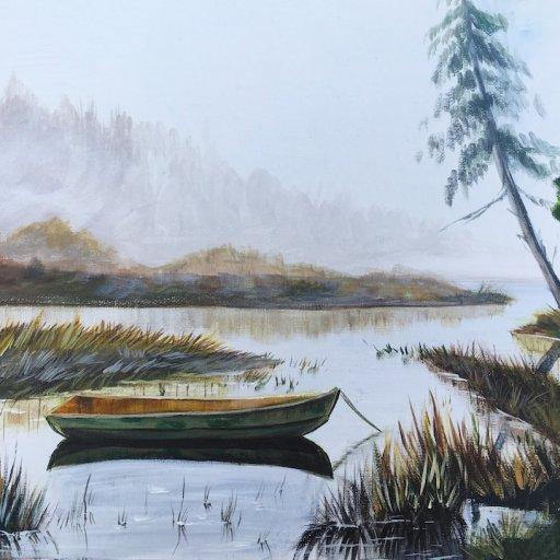 Misty Lake Acrylic Painting The Art Sherpa