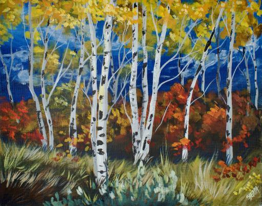 Fall Birch Tree Acrylic Painting The Art Sherpa Gallery