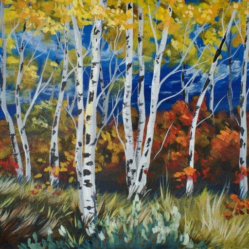 Fall Birch Tree acrylic painting  The Art Sherpa